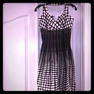 Calvin Klein black & white polka dot halter dress